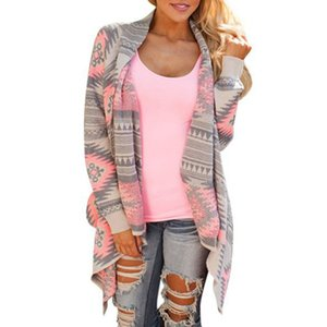 Wholesale- Hot Women Irregular Printed Tops Long Sleeve Zip-up Coat Plus Size Sweatshirt S M L Green Pink New