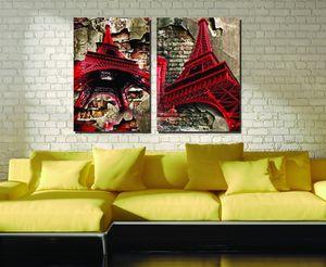 Специальное предложение Оптовая спрей живопись 2 шт. Модульная картина Красная Эйфелева башня холст Живопись современные декоративные картины