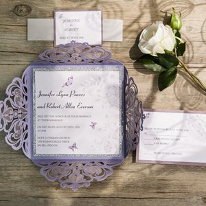 Wholesale- Butterfly Lavender Silver Glittery Hollow Wedding Invitations Custom Wedding Cards Free RSVP 100 Free Shipping