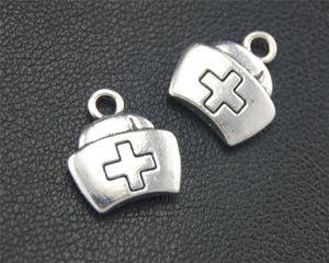 40pcs antique sliver infirmière casquette charme pendentif bricolage collier bracelet bracelet conclusions 14x12mm a1774