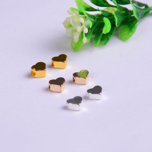2mm Big Hole Loose Beads charm For Pandora DIY Jewelry Bracelet&Necklace Heart shaped Components Gold Silver Gun black Jewelry Findings