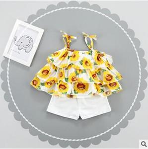 O desgaste do verão idade 1-3 meninas de duas peças bolo saia floral impressão vestido suspender terno crianças conjuntos de roupas de algodão infantil baby girl blusa