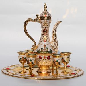 golden und weiß Farbe Metall Weinset / Tee-Set, Art und Weise Zink-Legierung Wein-Set, 1 set = 1 Platte + 1 Topf 6 Tassen