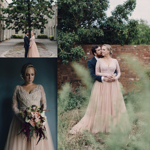 New Country A Line Wedding Dresses V Neck Long Sleeves Lace Appliques Crystal Beaded Tulle Blush Pink Plus Size Cheap Formal Bridal Gowns