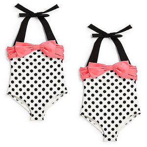 Wholesale- 2016 New Baby Toddler Girls One Piece Swimwear Bowknot Polka Dots Swimable Bikini Kids Holiday Swimwear Swimsuit 2-7Y