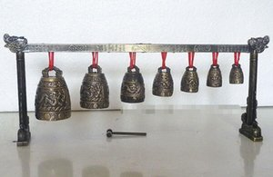 Meditation Gong con 7 Ornate Bell con Dragon Design Chinese Musical Instrument