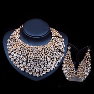 New Noble Blue Cubic Zirconia Water Drop Ciondolo collana bracciale anelli e orecchini gioielli oro zecchino