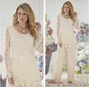 Nach Maß Vintage Mutter der Braut Kleider Pant Suits Crew Long Sleeves Chiffon Lace Kleider Formal für Mütter Kleider