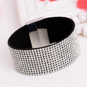 Braccialetti di cuoio nuovi di modo Braccialetti di telaio Braccialetti di catena di cristallo Braccialetti Braccialetti magnetici di fascini dei braccialetti per le donne