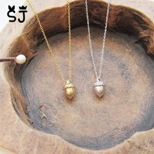 Großhandels-1PCS- N130 kleine Eichel-Halskette Nette Pinecone Halskette Minimale Kiefer-Kegel-Halskette Kleine Karikatur-Eichhörnchen-Nuss-Halsketten für Frauen