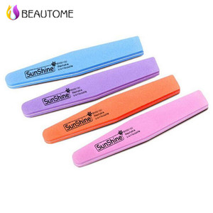 Vente en gros- 5pcs / lot Beautome Mix Couleur Sunshine Sponge Shaped Diamond Nail Buffer File Lavable 100/180 Nail Buffer pour vernis à ongles