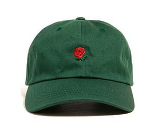 Горячие изогнутые поля шапки Красная роза цветок вышитые регулируемый низкий профиль розовый зеленый бейсболка папа шляпы Черная роза шляпы для женщин мужчины кости