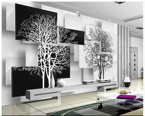 Frete grátis de Alta Qualidade Personalizado 3d papel de parede murais de papel de parede simples preto e branco árvore 3 d TV configuração wall decor sala de estar papel de parede
