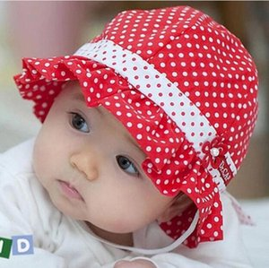 Niños Pequeños Bebés Sombrero de Sun Polka Dot Flower Bucket Cap Bowknot Pearl Hat G593