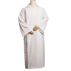 Hombres Religión Traje Iglesia católica Alb White Linen Pleats Robe Altar Server Vestidos D009 Alta calidad