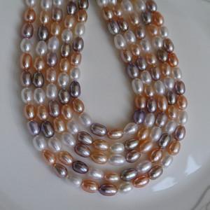 2017 nova diy beads mix cor forma de grão naturais de água doce colar de pérolas 6 - 7mm contas soltas de pérola acessórios atacado frete grátis