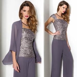 2019 Lavanta Dantel Şifon Anne Gelin Pant Suits Uzun Kollu Ceket Ile Spagetti Üç Adet Pantolon Abiye giyim Örgün Elbise