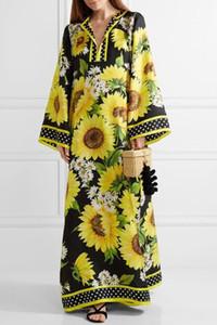 Lindo 2017 Impressão de Girassol Solto Longo Mulheres Vestido Boêmio Side Slit Beach Beading Férias Vestido Longo Plus Size Maxi Vestido D0617109