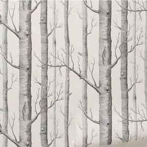 Birch Tree Pattern Non-woven Woods Wallpaper Roll Modern Wall covering Simple Black And White Wallpaper For Living Room Wholesale