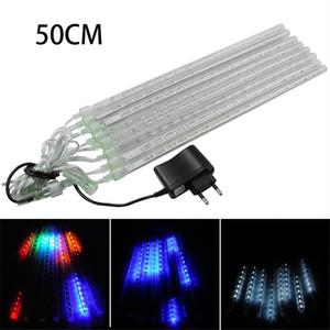 멀티 컬러 50CM Led 유성 샤워 비 관 AC100V 220V LED 크리스마스 조명 웨딩 가든 Xmas 스트링 라이트 야외
