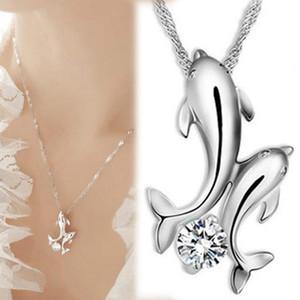 Подвеска Ожерелье Симпатичного Дельфин ожерелье Серебро 925 Дважды Дельфин Rhinestone Коротких цепей ожерелья женщины Мода Рыба ювелирных изделий