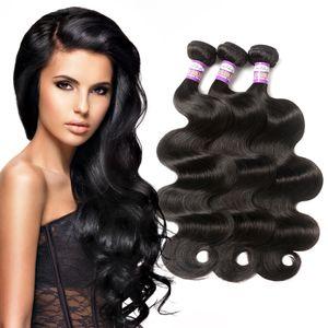 9a Virgin brasileiro do cabelo humano onda do corpo humano brasileiro do cabelo de 3 ou 4 feixes onda do corpo Natural Negro Cor não transformados Remy extensões do cabelo