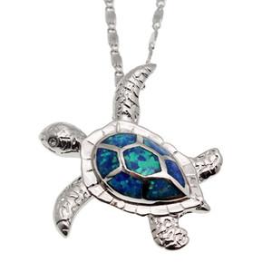 Hermosa regalo di Natale I monili Sea Turtle argento placcato opalino blu pendenti di fascino orecchini di vendita calda unisex di Sea Beach Jewelry
