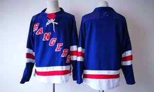 New NY Rangers Jerseys Blank Нет имени No Number Jersey 2017 Новые трикотажные изделия хоккея Синий цвет Размер M-XXXL Заказ смешивания Высокое качество
