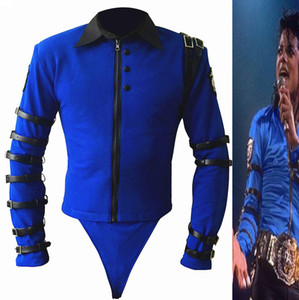 Wholesale- New Rare MJ Michael Jackson BAD tour Bule Bodysuit Skinny Jacket Punk Style Heavy Metal Music Ultimate Collection