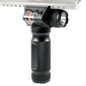 전술 포 그립 손 그립 크리 어 LED 손전등 빨간 레이저 시력에 맞는 20mm 레일