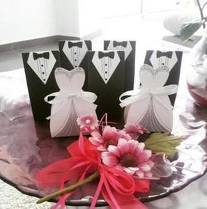 100PCS 신부 선물 케이스 신랑 턱시도 드레스 가운 리본 결혼식 사탕 상자 설탕 사례 웨딩 장식 호의