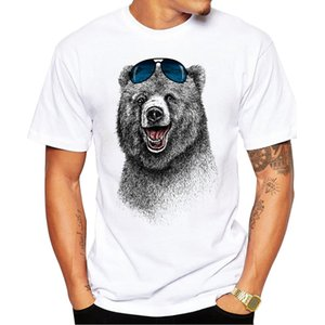 2017 Hot Sale Fashion Laughing Bear Men T shirt Short sleeve men The Happiest Bear Retro Printed T Shirts Casual Funny Tops