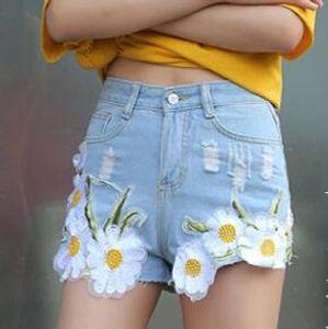 Pantaloncini corti casual da donna di nuovo design Pantaloncini di jeans con stampa floreale Pantalone con risvolto Pantaloni corti Vaqueros Mujer Pantaloncini a vita bassa afflitti JHJ