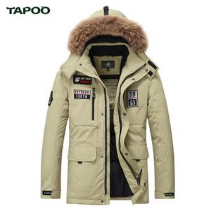 Gros-TAPOO 2017 blanc duvet de canard veste d'hiver des hommes épaississement occasionnel chaud nagymaros col veste hiver capuche marque manteau parkas