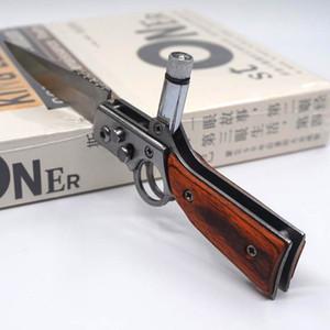 YENI AK47 RIFLE Gun Şekilli Katlanır Bıçak S Boyutu 440 Blade Pakka Ahşap Kolu Cep Taktik Kamp Açık Havada Survival Bıçaklar LED Işık Ile