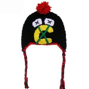 Nouveauté chapeau d'équipe de hockey, chapeau tricoté à la main bébé garçon fille Hockey pompon Earflap chapeau, chapeau d'hiver pour enfants, enfant Photo infant