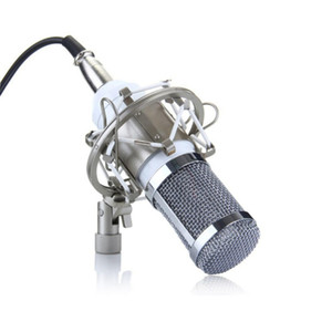 Freeshipping New Pro Micrófono de condensador BM800 Estudio de grabación de sonido Micrófono dinámico + Blanco Shock Mount + Cable + Windscreen A2 Silver