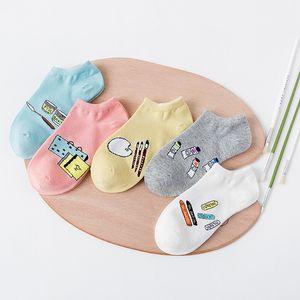 FUJI Yeni Moda Sevimli Çorap Womens Pamuk Ayak Bileği Düşük Kesim Sox Karikatür Çorap Görünmez Çorap Terlik