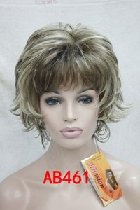 Ücretsiz kargo! Hivision Süper moda büyüleyici peruk Güzel Kıvırcık kahverengi mix dalgalı flip sona erer lady 'sentetik kısa peruk