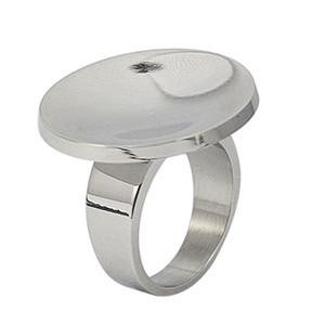 Nuevo anillo redondo brillante de plata de acero inoxidable de la manera Trinket nunca deslustre los anillos únicos para las mujeres joyería al por mayor