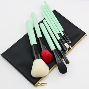 Odessy Naturel Maquillage Brosses Cheveux De Chèvre Cheveux 8pcs Professionnel Beauté Essentials Vert Make Up Brush Set avec Sac De Haute Qualité