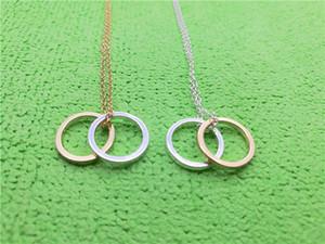 10PCS-N141 Hollow Outline Open Two Circles Collana Semplice doppio cerchio Collana geometrica cerchio collane rotonde per le donne