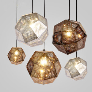 Fashion Art Metal Ball Pendant Light Geometry Bar Polyhedral Stainless Steel Polyhedral Personality Pendant Light Lamp Art Chandelier