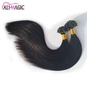 Yüksek Kalite U İpucu İnsan Saç Uzantıları U Uçlu Saç Doğal Renk Düz Keratin 100% Remy Brezilyalı Saç Ali Sihirli Fabrika Outlet