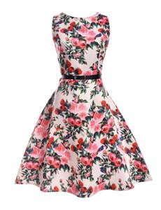 Mom Mädchen-Rosen-Kleid Mutter-Tochter-Blumendruck TUTU Kleider 2020 Sommer Mom Kinder Matching Kleid Familien Spiel Outfits Kleidung B10
