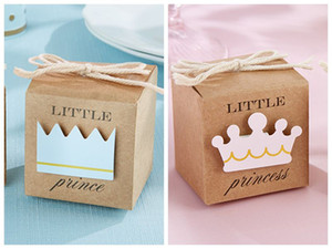 Baby Shower Favors of Little Prince Kraft Favor Boxes For baby birthday Party Gift box and baby Decoration Gift 100pcs lot Free shipping