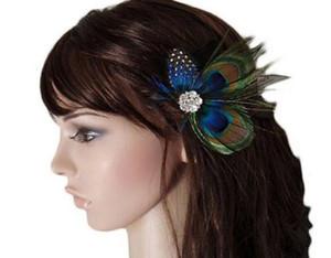 In magazzino Capelli europei e americani con accessori per capelli piuma di pavone piuma 2019 vendita calda festa da ballo copricapo con un cerchio trapano