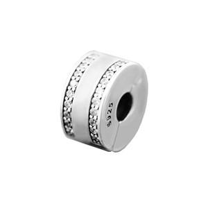 perles pour femme PAN Insignia Clear CZ Clip perles d'arrêt adapter bracelet pandora pour femme Original 925 bijoux en argent faisant des charmes