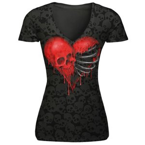 Toptan-MUQGEW kadın t-shirt V yaka kafatası kalp baskılar korku sokak moda kısa kollu geleneksel bölüm T-shirt # ZKERWU