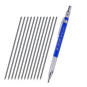 Держатель Автоматический карандаш 2.0 мм черные карандаши ведет коробку Металлический зажим Ручка Чертеж Механическое письмо Рисование Школьные принадлежности